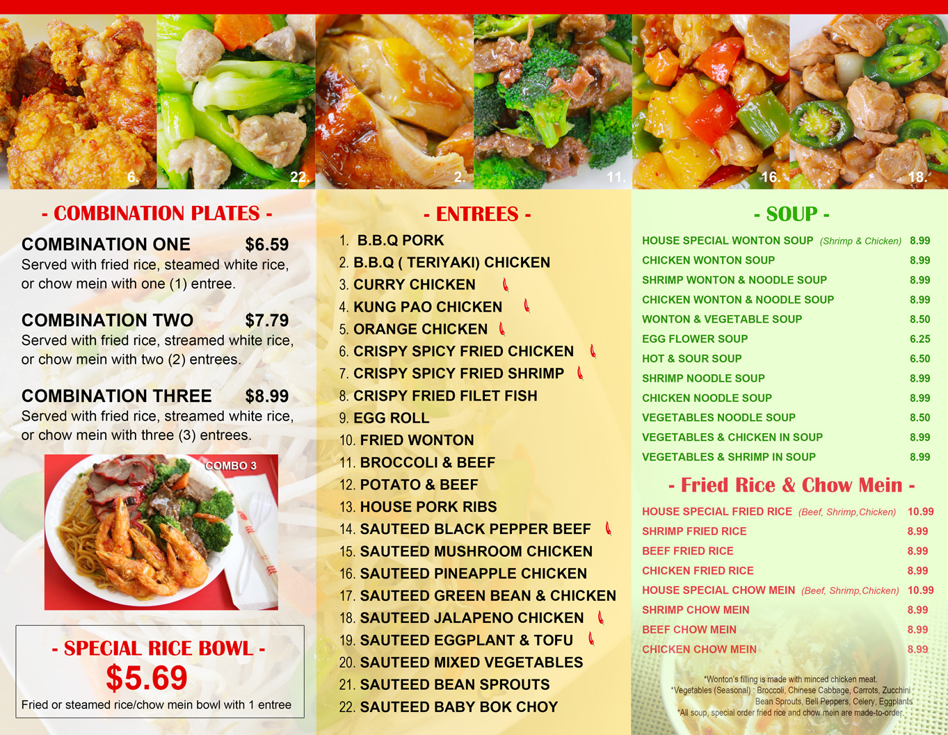 chinese fast food menu